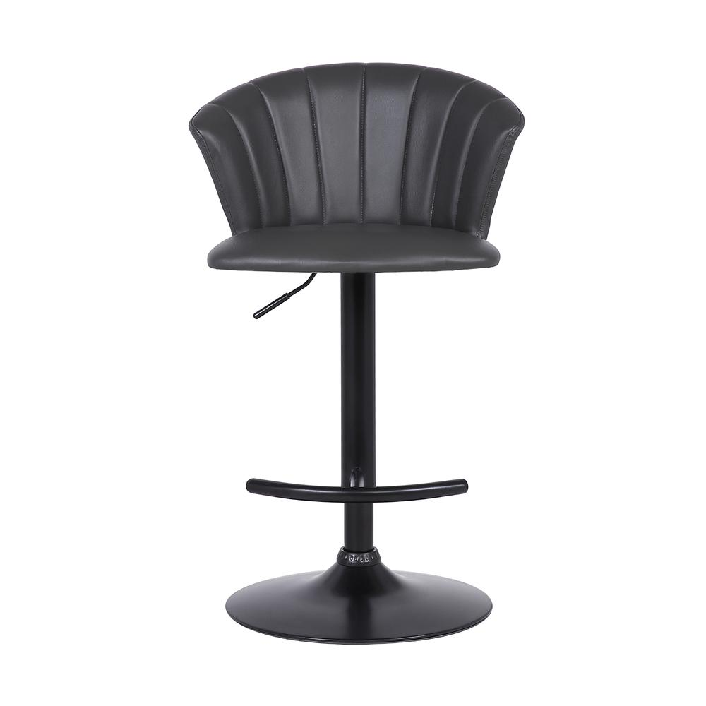 Raquel Adjustable Modern Grey Faux Leather Bar Stool. Picture 2