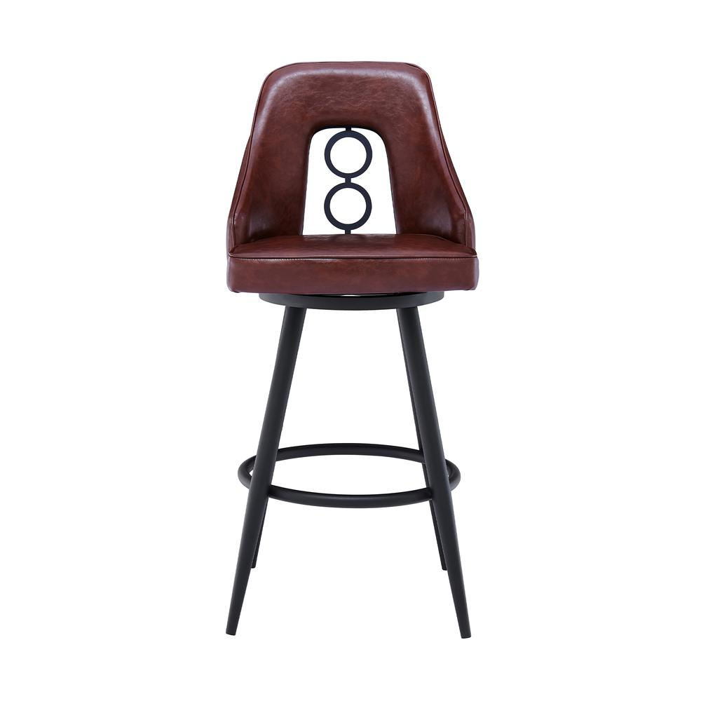 """Contemporary 26"""" Counter Height Barstool in Black Powder Coated Finish and Vintage Coffee Faux Leather. Picture 2"""