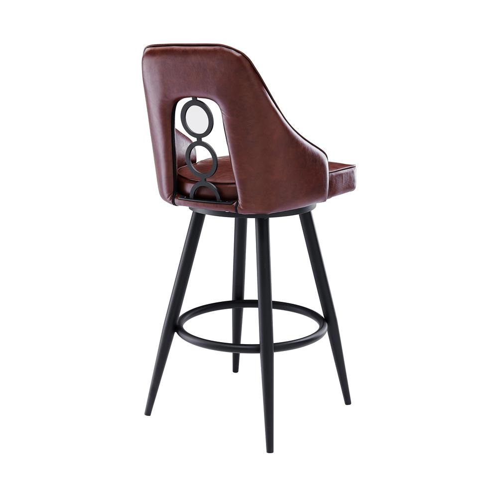 """Contemporary 26"""" Counter Height Barstool in Black Powder Coated Finish and Vintage Coffee Faux Leather. Picture 3"""