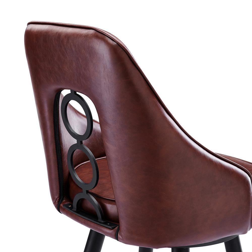 """Contemporary 26"""" Counter Height Barstool in Black Powder Coated Finish and Vintage Coffee Faux Leather. Picture 5"""