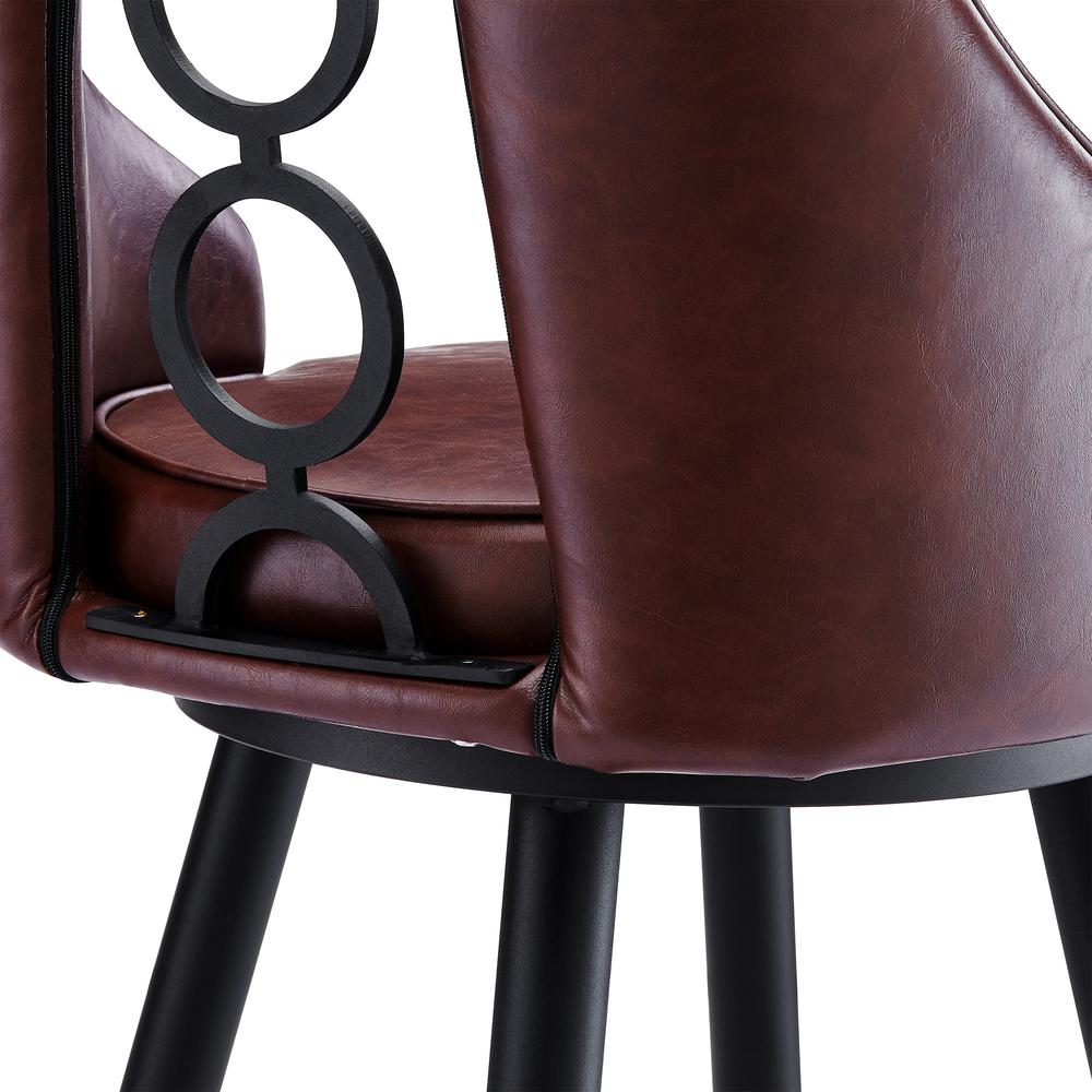 """Contemporary 26"""" Counter Height Barstool in Black Powder Coated Finish and Vintage Coffee Faux Leather. Picture 6"""