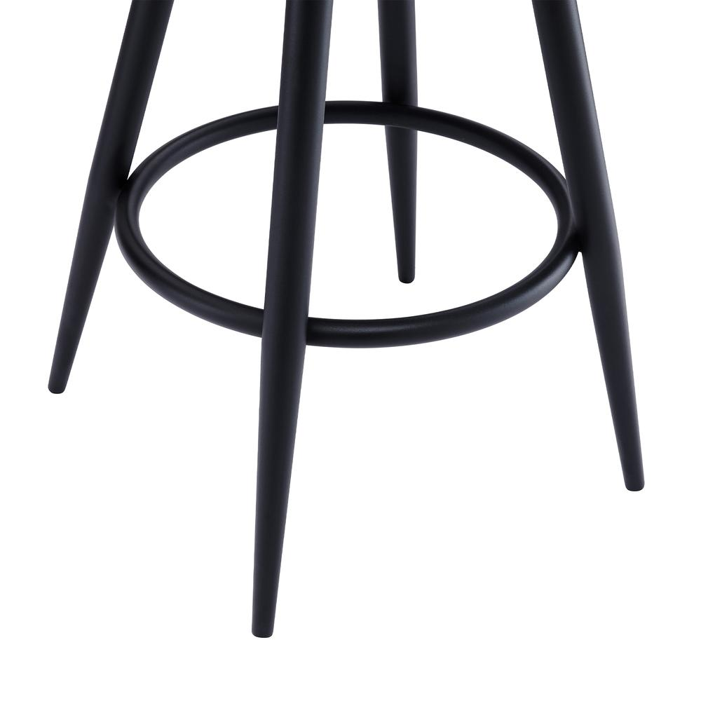 """Contemporary 26"""" Counter Height Barstool in Black Powder Coated Finish and Vintage Coffee Faux Leather. Picture 7"""