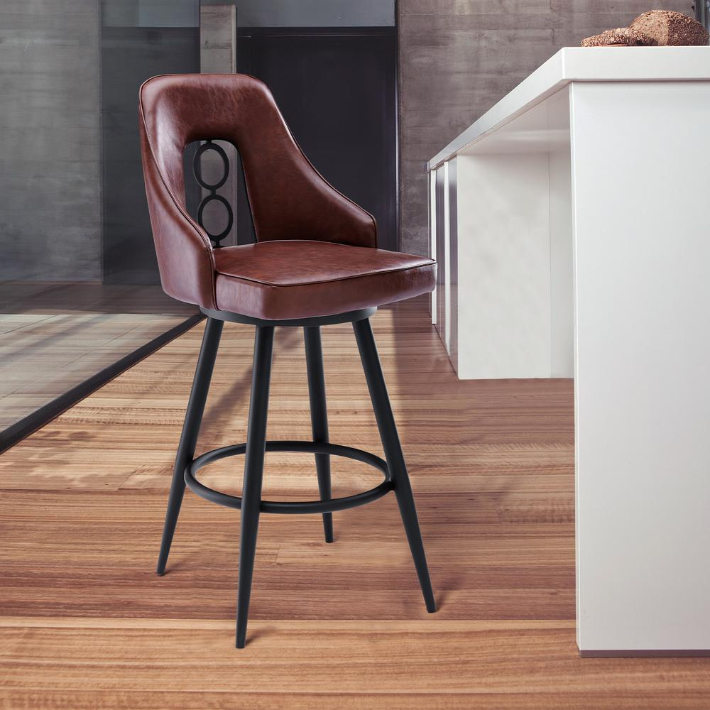 """Contemporary 26"""" Counter Height Barstool in Black Powder Coated Finish and Vintage Coffee Faux Leather. Picture 8"""