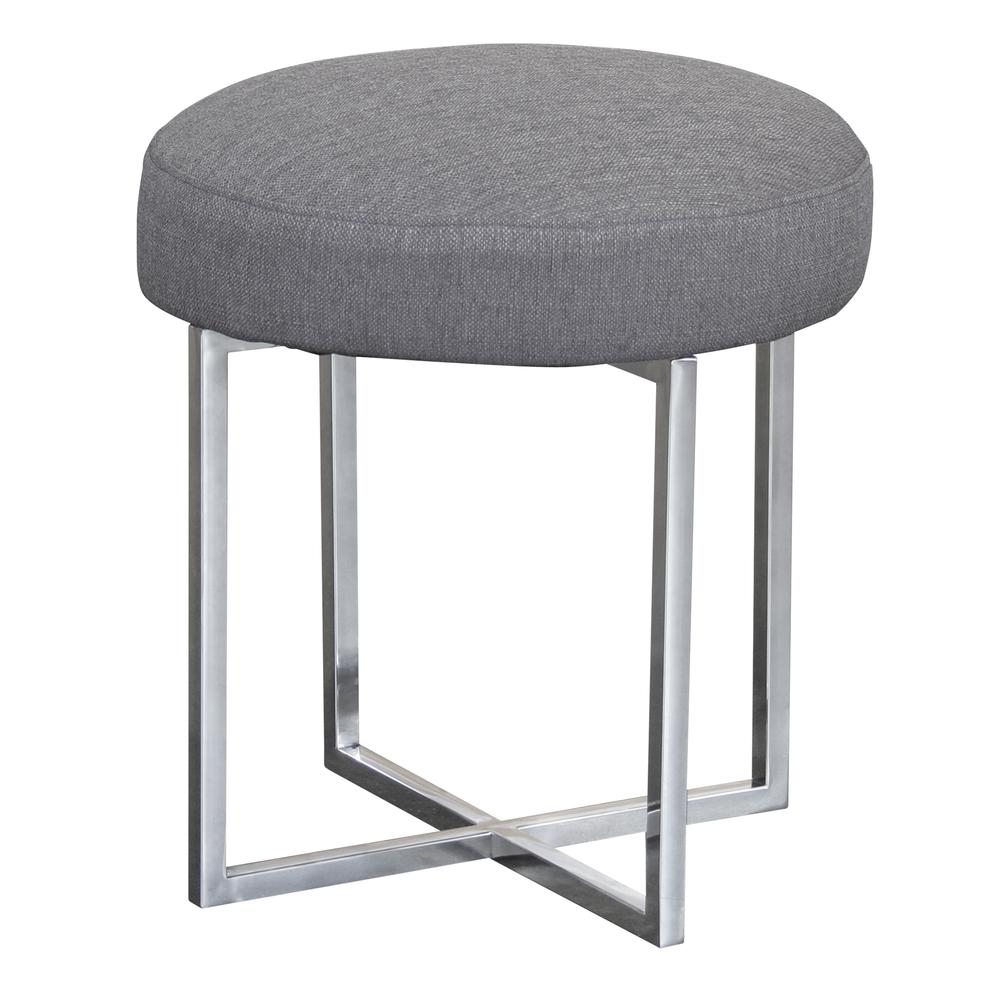 Armen Living Rory Contemporary Ottoman in Polished Stainless Steel Finish Base and Grey Fabric. Picture 1