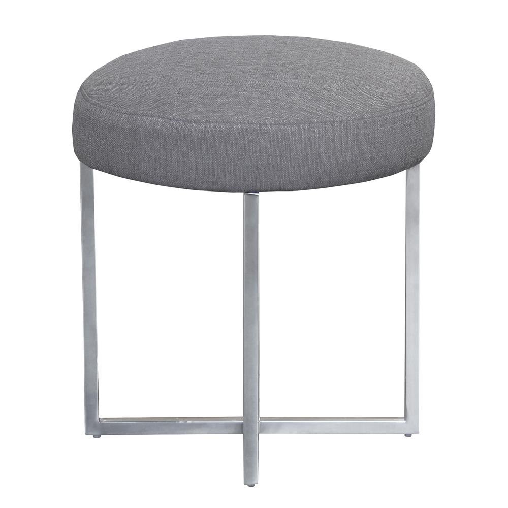 Armen Living Rory Contemporary Ottoman in Polished Stainless Steel Finish Base and Grey Fabric. Picture 2