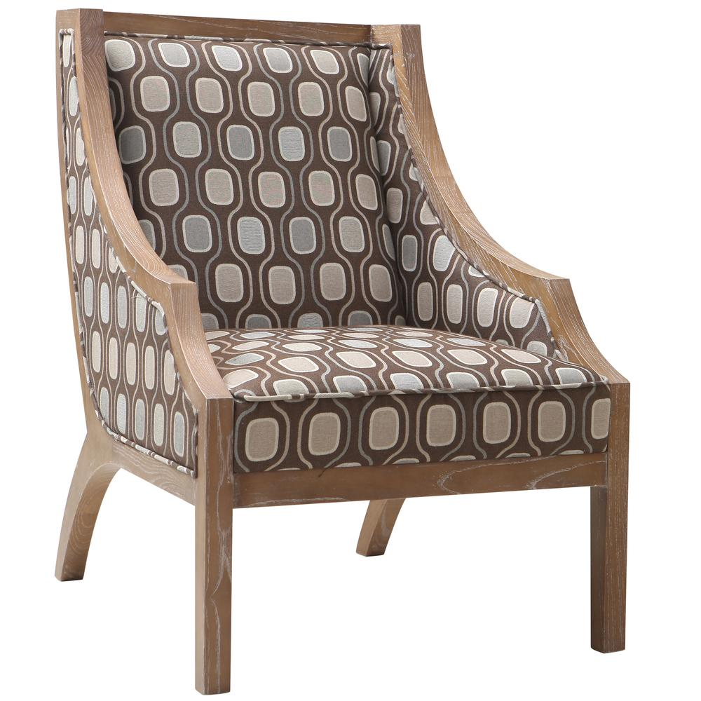 Solid Wood Accent Chair In Multi-Colored Fabric. Picture 1