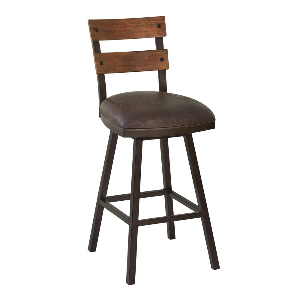 "Saugus 30"" Bar Height Metal Swivel Barstool in Bandero Espresso Fabric and Auburn Bay Finish with Walnut Wood Back. Picture 1"