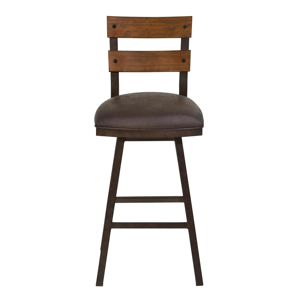 "Saugus 30"" Bar Height Metal Swivel Barstool in Bandero Espresso Fabric and Auburn Bay Finish with Walnut Wood Back. Picture 2"