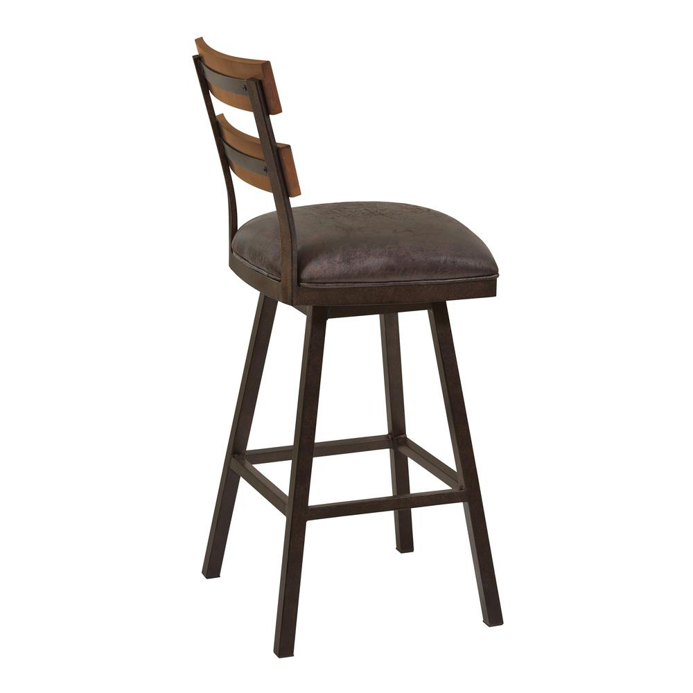 "Saugus 30"" Bar Height Metal Swivel Barstool in Bandero Espresso Fabric and Auburn Bay Finish with Walnut Wood Back. Picture 3"