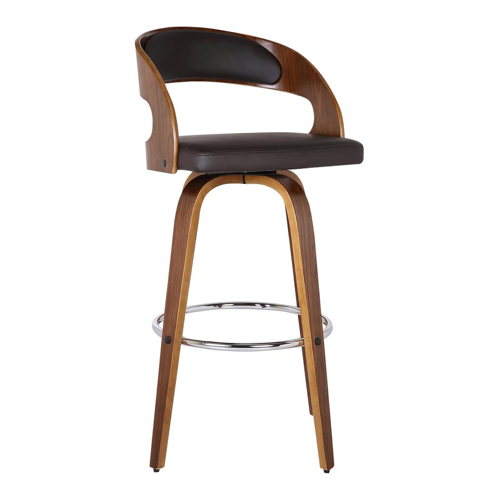 """Armen Living Shelly 26"""" Counter Height Barstool in Walnut Wood Finish with Brown PU. Picture 1"""
