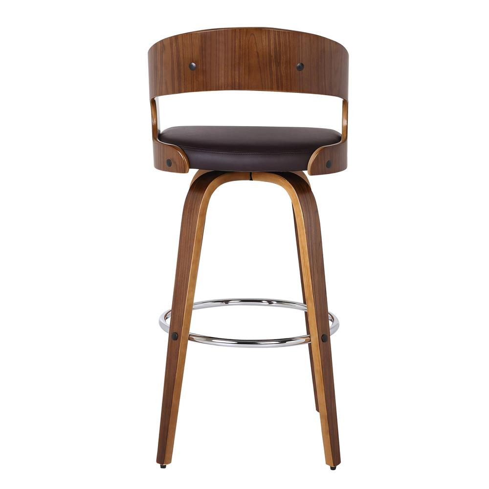"""Armen Living Shelly 26"""" Counter Height Barstool in Walnut Wood Finish with Brown PU. Picture 2"""