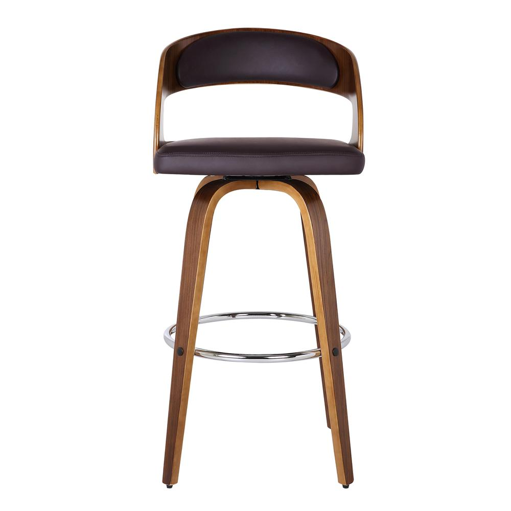 """Armen Living Shelly 26"""" Counter Height Barstool in Walnut Wood Finish with Brown PU. Picture 3"""