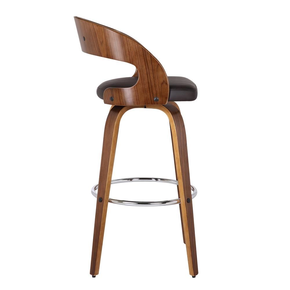 """Armen Living Shelly 26"""" Counter Height Barstool in Walnut Wood Finish with Brown PU. Picture 4"""
