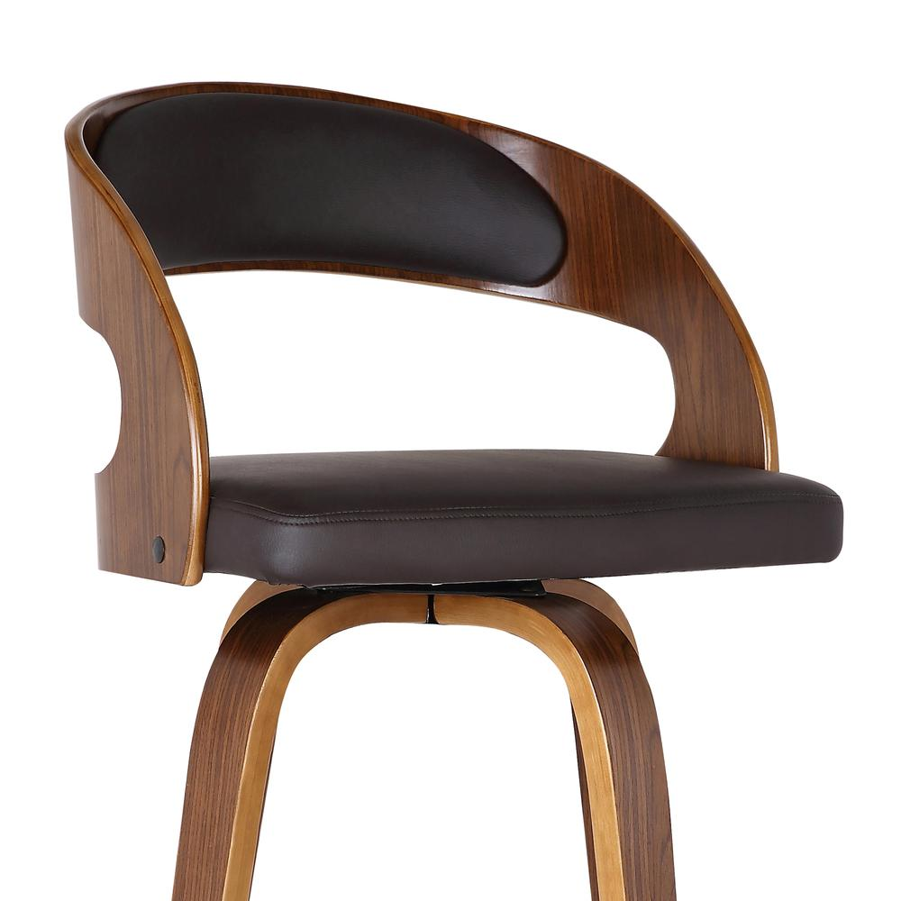 """Armen Living Shelly 26"""" Counter Height Barstool in Walnut Wood Finish with Brown PU. Picture 5"""