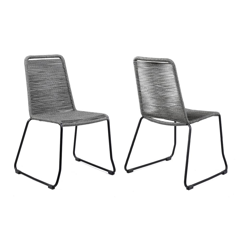 Shasta Outdoor Patio Dining Chair in Black Powder Coated Finish and Gray Fishbone Textiling - Set of 2. Picture 1