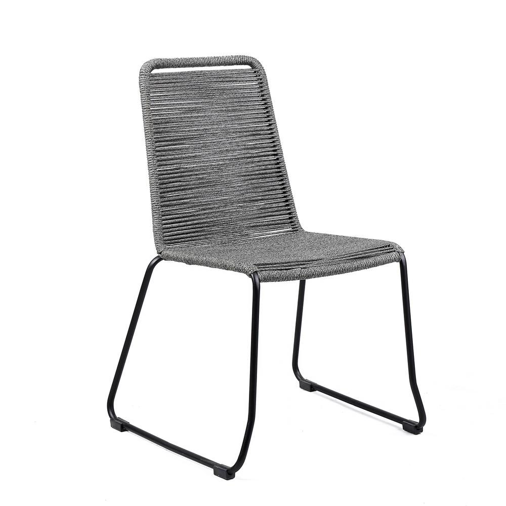 Shasta Outdoor Patio Dining Chair in Black Powder Coated Finish and Gray Fishbone Textiling - Set of 2. Picture 2