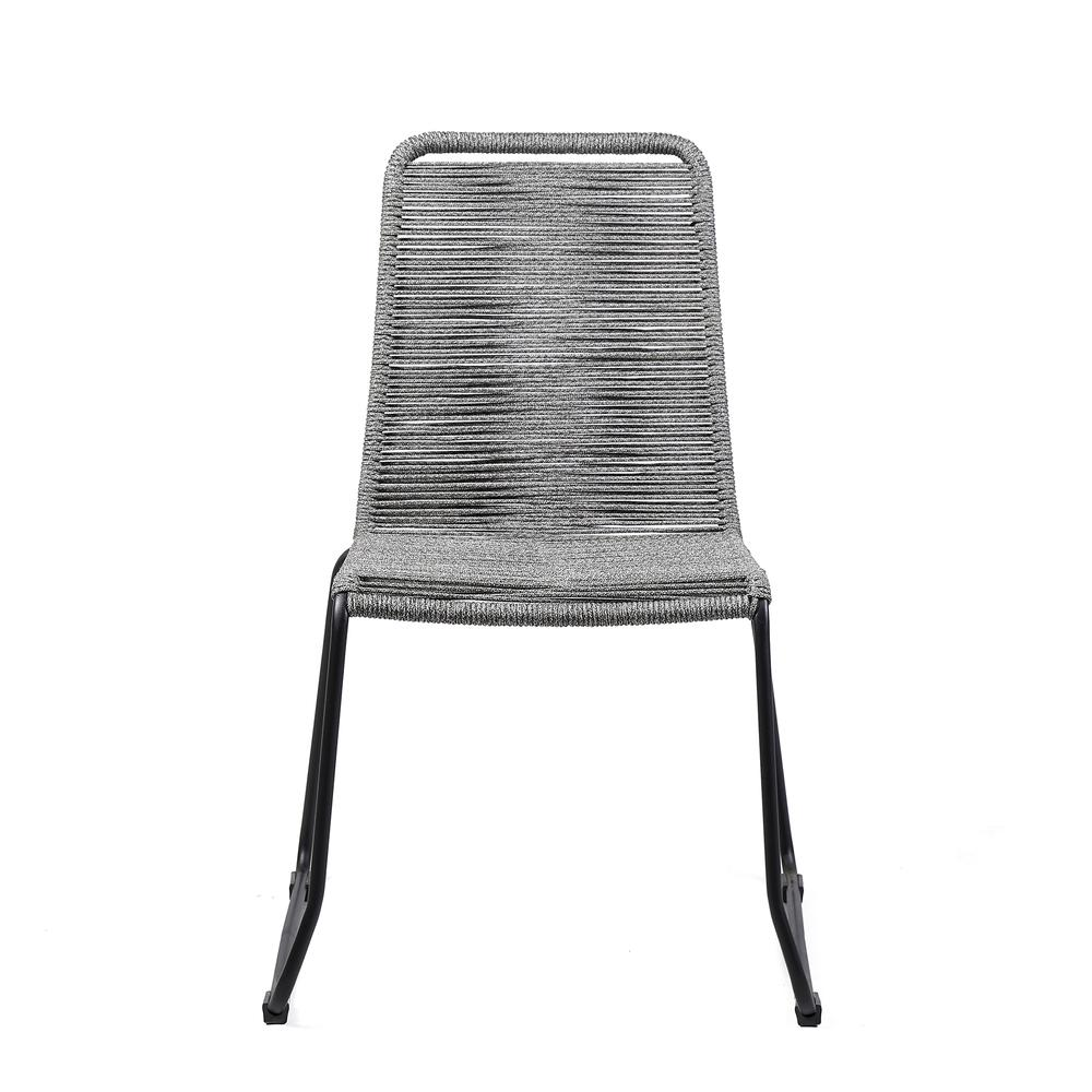 Shasta Outdoor Patio Dining Chair in Black Powder Coated Finish and Gray Fishbone Textiling - Set of 2. Picture 3