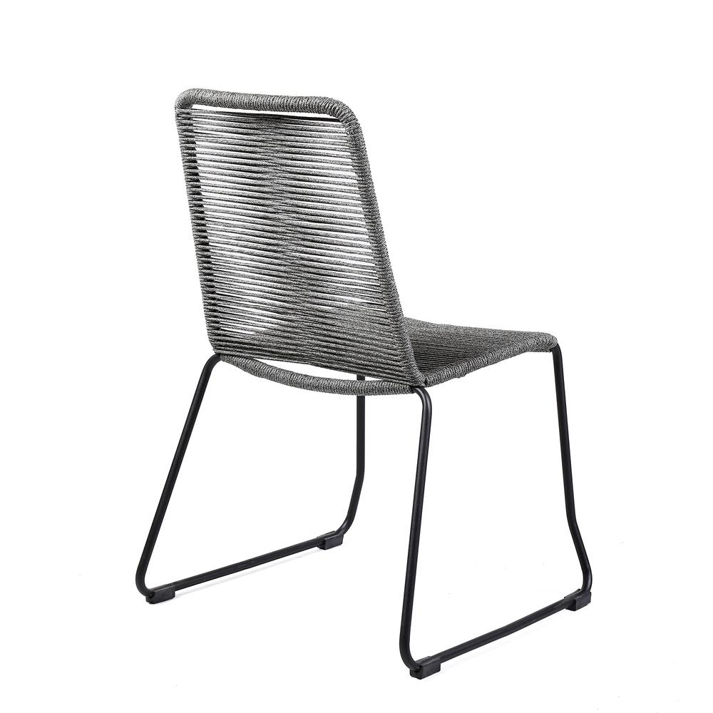 Shasta Outdoor Patio Dining Chair in Black Powder Coated Finish and Gray Fishbone Textiling - Set of 2. Picture 4