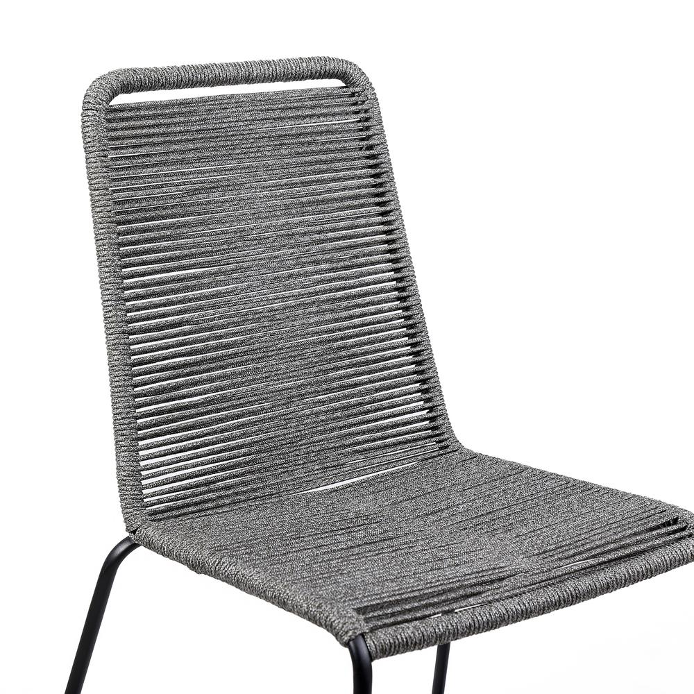 Shasta Outdoor Patio Dining Chair in Black Powder Coated Finish and Gray Fishbone Textiling - Set of 2. Picture 5