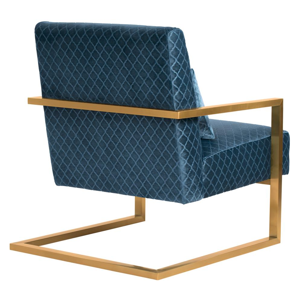 Skyline Contemporary Accent Chair In Blue Velvet With Gold Brushed
