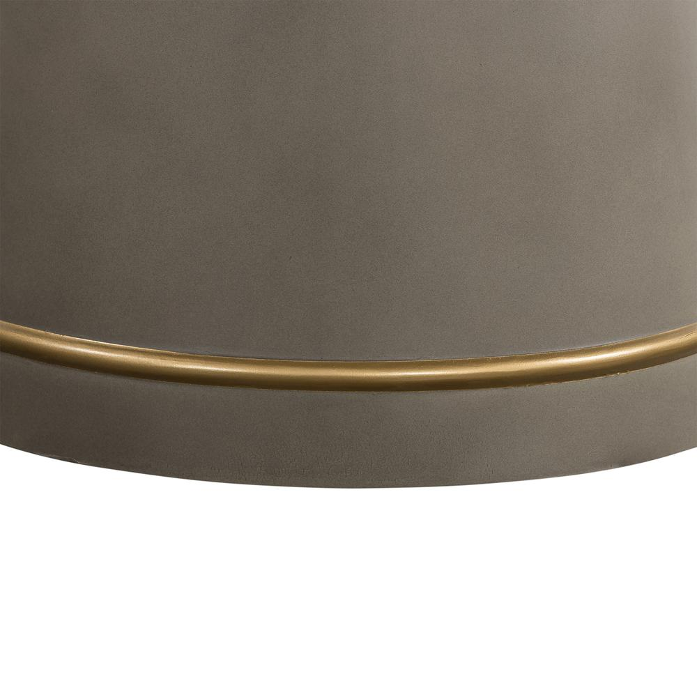 Pinni Grey Concrete Round Dining Table with Bronze Painted Accent, N/A. Picture 1