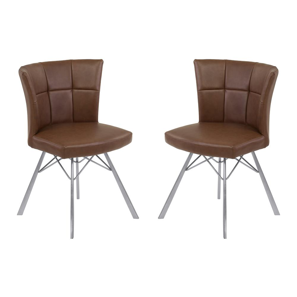 Contemporary Dining Chair in Vintage Coffee Faux Leather with Brushed Stainless Steel Finish - Set of 2. Picture 1