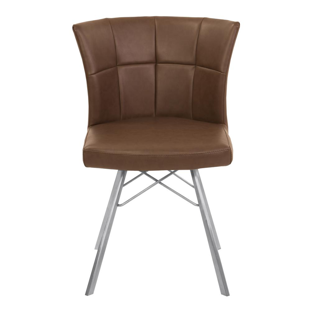 Contemporary Dining Chair in Vintage Coffee Faux Leather with Brushed Stainless Steel Finish - Set of 2. Picture 2
