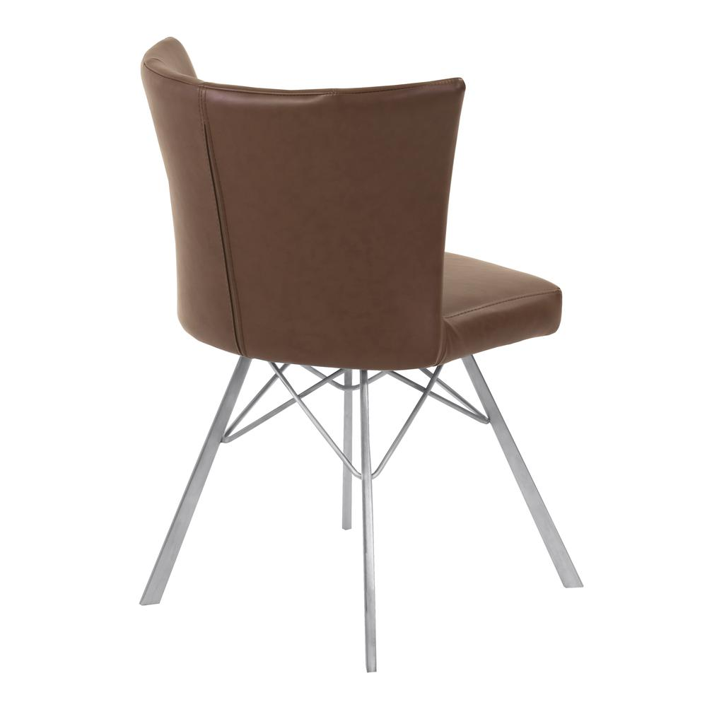 Contemporary Dining Chair in Vintage Coffee Faux Leather with Brushed Stainless Steel Finish - Set of 2. Picture 3