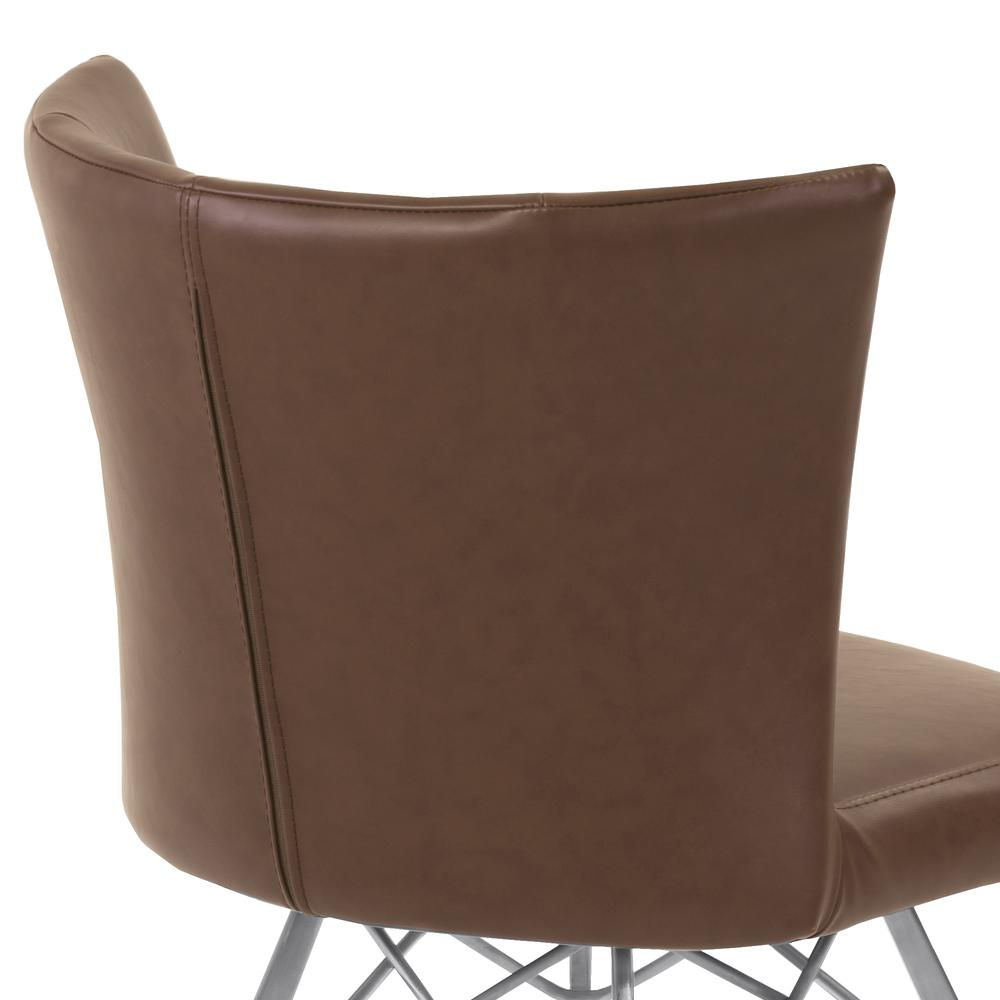 Contemporary Dining Chair in Vintage Coffee Faux Leather with Brushed Stainless Steel Finish - Set of 2. Picture 5