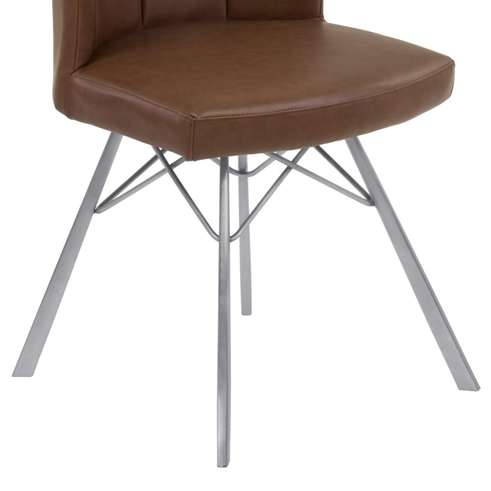 Contemporary Dining Chair in Vintage Coffee Faux Leather with Brushed Stainless Steel Finish - Set of 2. Picture 6
