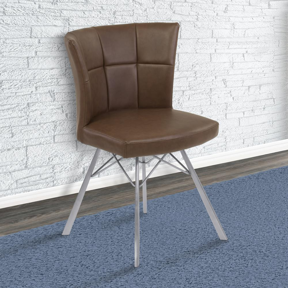 Contemporary Dining Chair in Vintage Coffee Faux Leather with Brushed Stainless Steel Finish - Set of 2. Picture 7