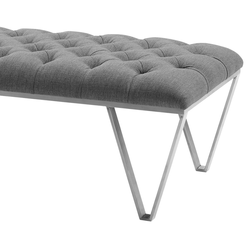 Contemporary Bench in Brushed Stainless Steel with Grey Fabric. Picture 2