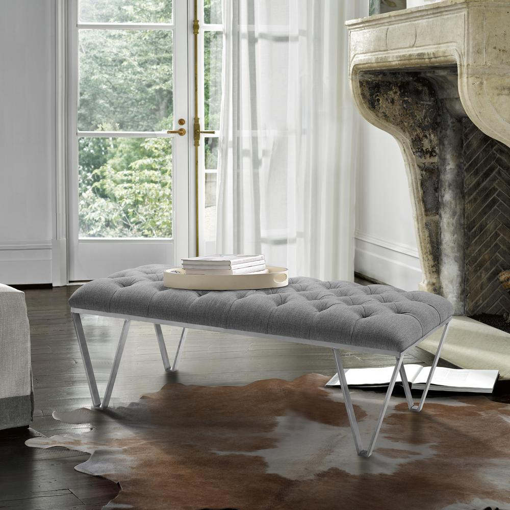 Contemporary Bench in Brushed Stainless Steel with Grey Fabric. Picture 3
