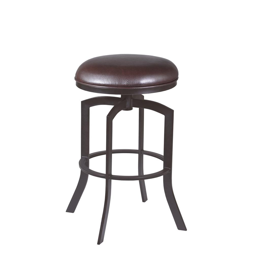 """Studio 26"""" Counter Height Barstool in Auburn Bay finish with Brown Faux Leather. Picture 1"""