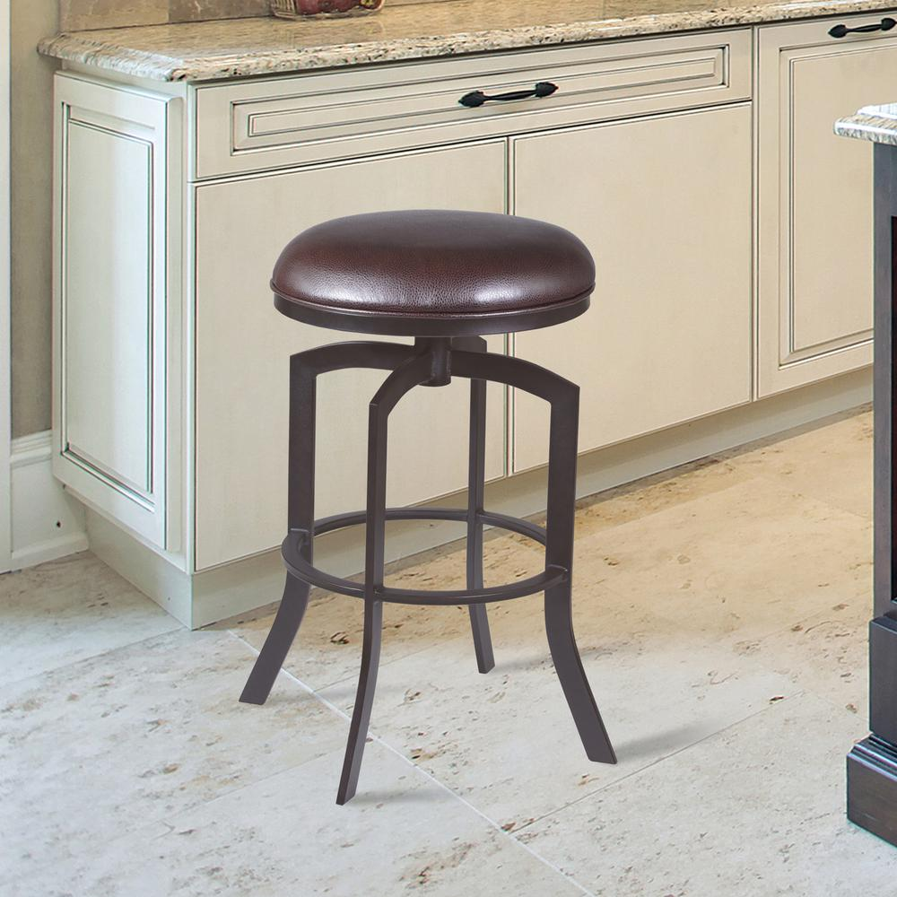 """Studio 26"""" Counter Height Barstool in Auburn Bay finish with Brown Faux Leather. Picture 4"""
