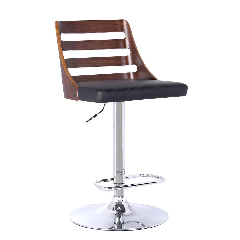 Armen Living Storm Barstool in Chrome finish with Walnut wood and Black Faux Leather. Picture 1