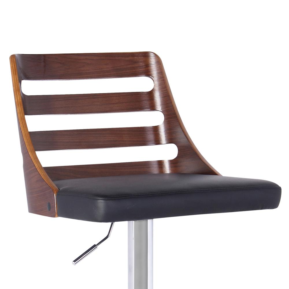 Armen Living Storm Barstool in Chrome finish with Walnut wood and Black Faux Leather. Picture 2
