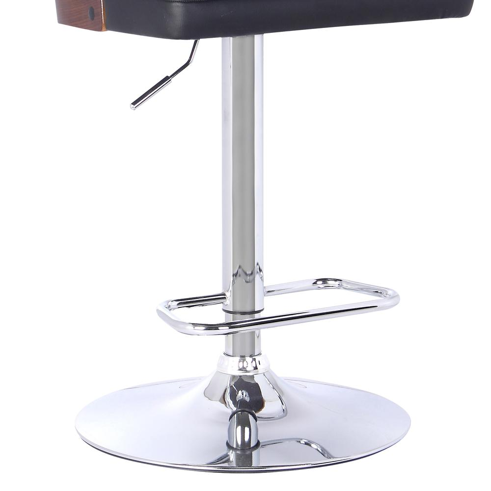 Armen Living Storm Barstool in Chrome finish with Walnut wood and Black Faux Leather. Picture 3