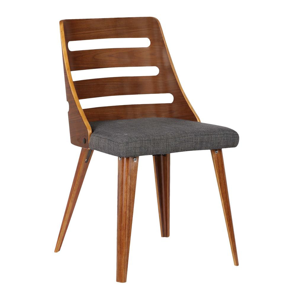 Storm Mid Century Dining Chair In Walnut Wood And Charcoal
