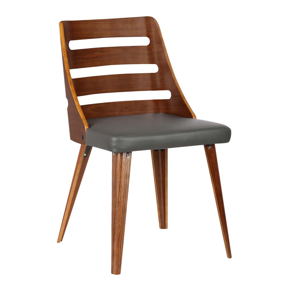 Mid-Century Dining Chair in Walnut Wood - Gray Faux Leather. Picture 1
