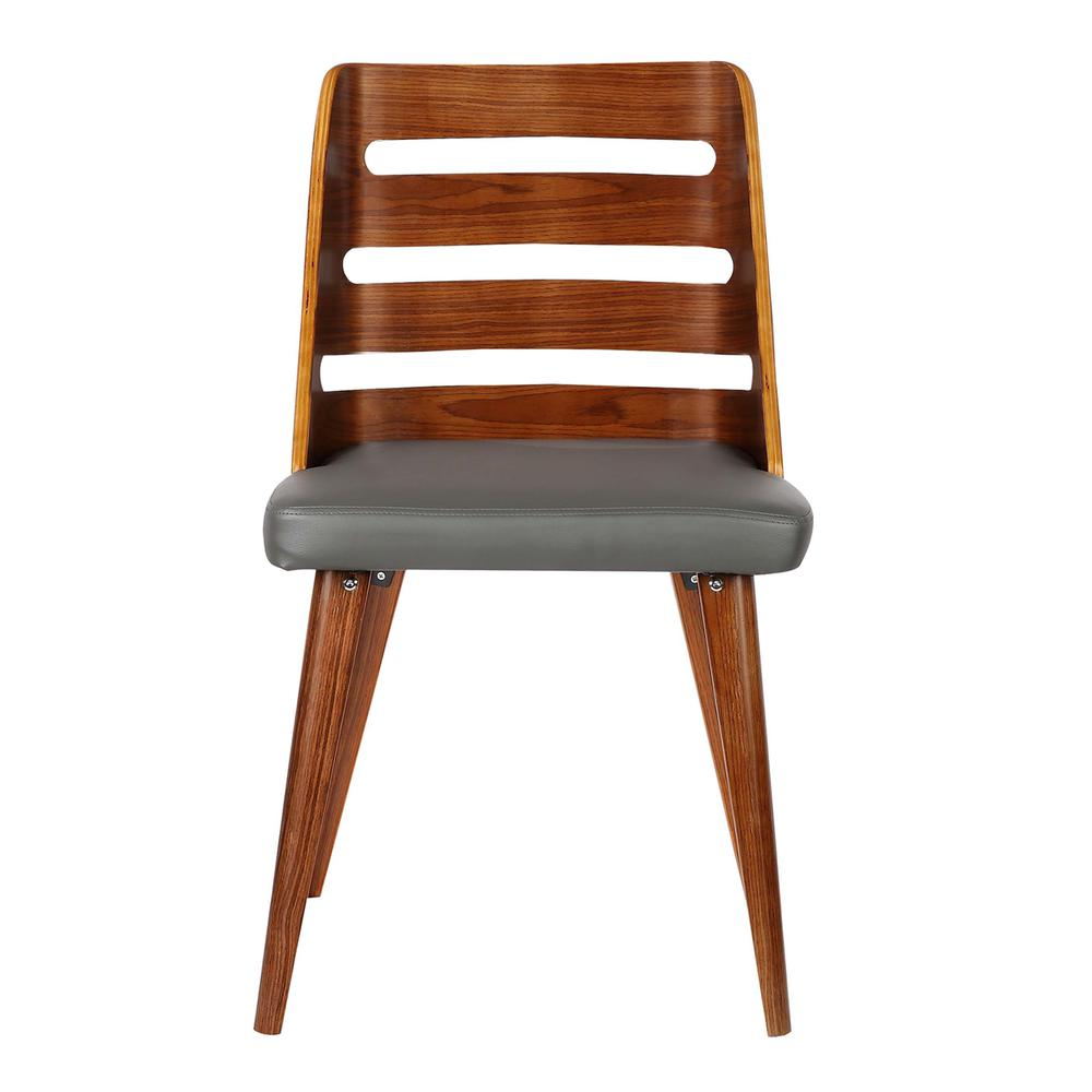 Mid-Century Dining Chair in Walnut Wood - Gray Faux Leather. Picture 2