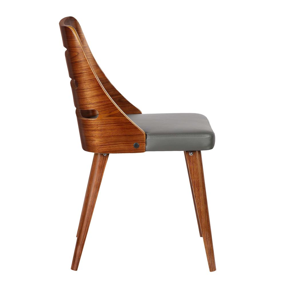 Mid-Century Dining Chair in Walnut Wood - Gray Faux Leather. Picture 3