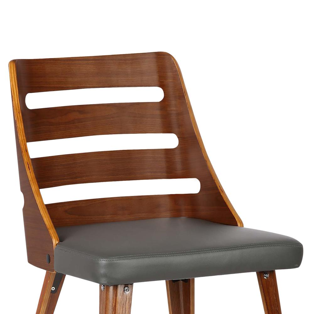 Mid-Century Dining Chair in Walnut Wood - Gray Faux Leather. Picture 5