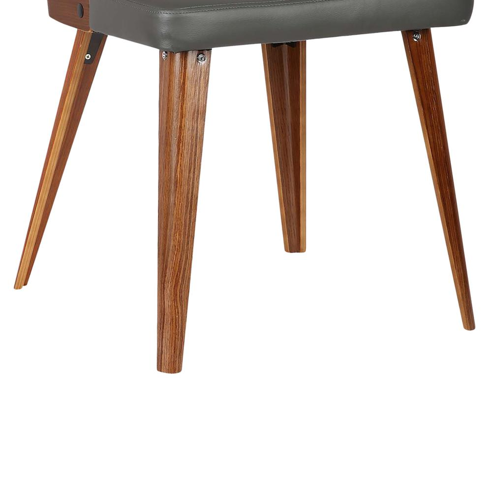 Mid-Century Dining Chair in Walnut Wood - Gray Faux Leather. Picture 7