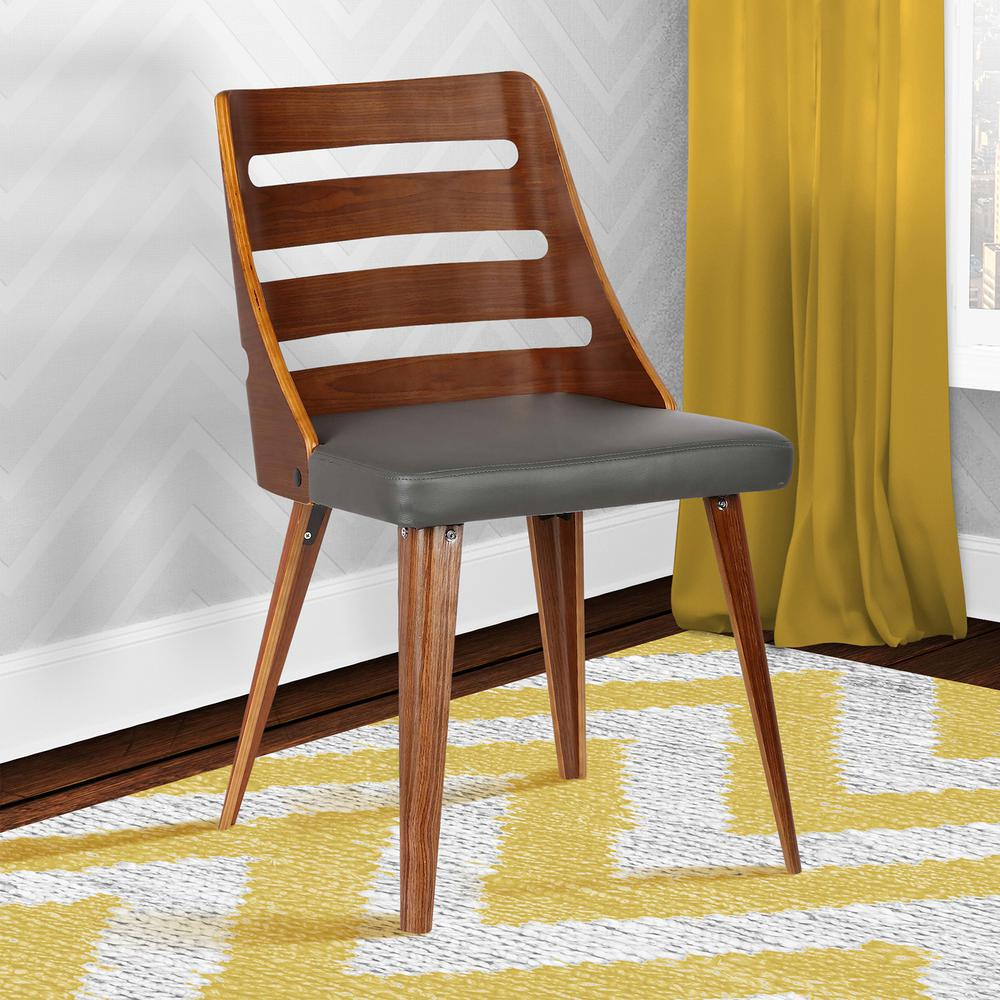 Mid-Century Dining Chair in Walnut Wood - Gray Faux Leather. Picture 8