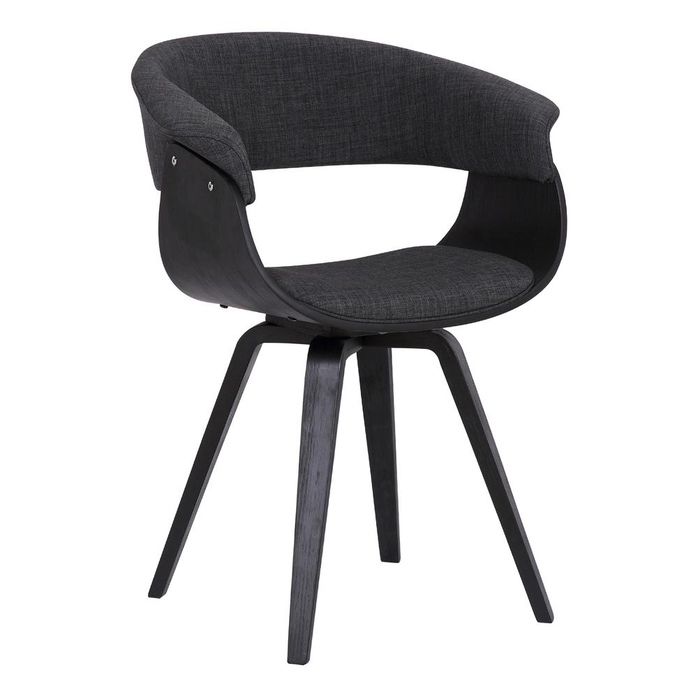 Contemporary Dining Chair in Black Brush Wood Finish and Charcoal Fabric. Picture 1