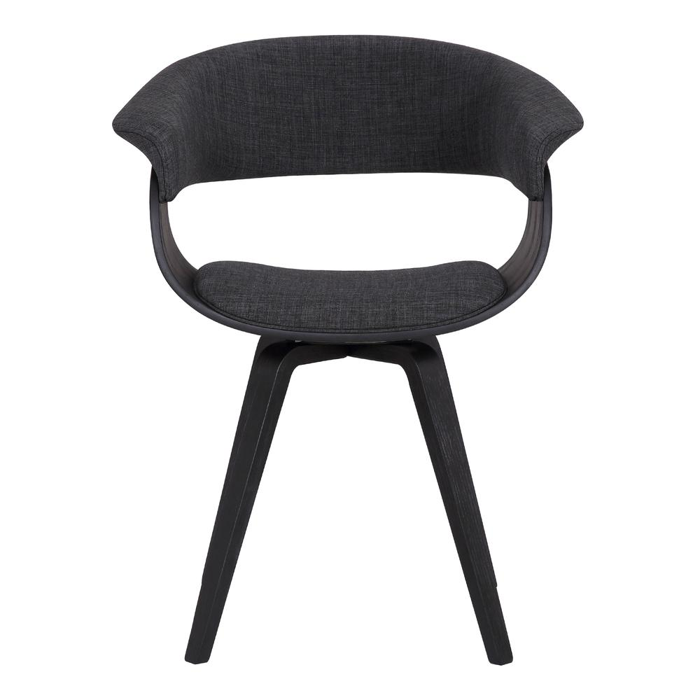 Contemporary Dining Chair in Black Brush Wood Finish and Charcoal Fabric. Picture 2