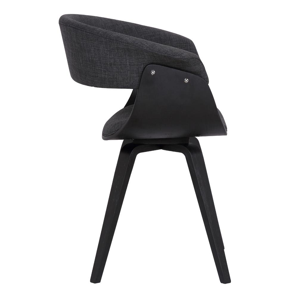 Contemporary Dining Chair in Black Brush Wood Finish and Charcoal Fabric. Picture 3