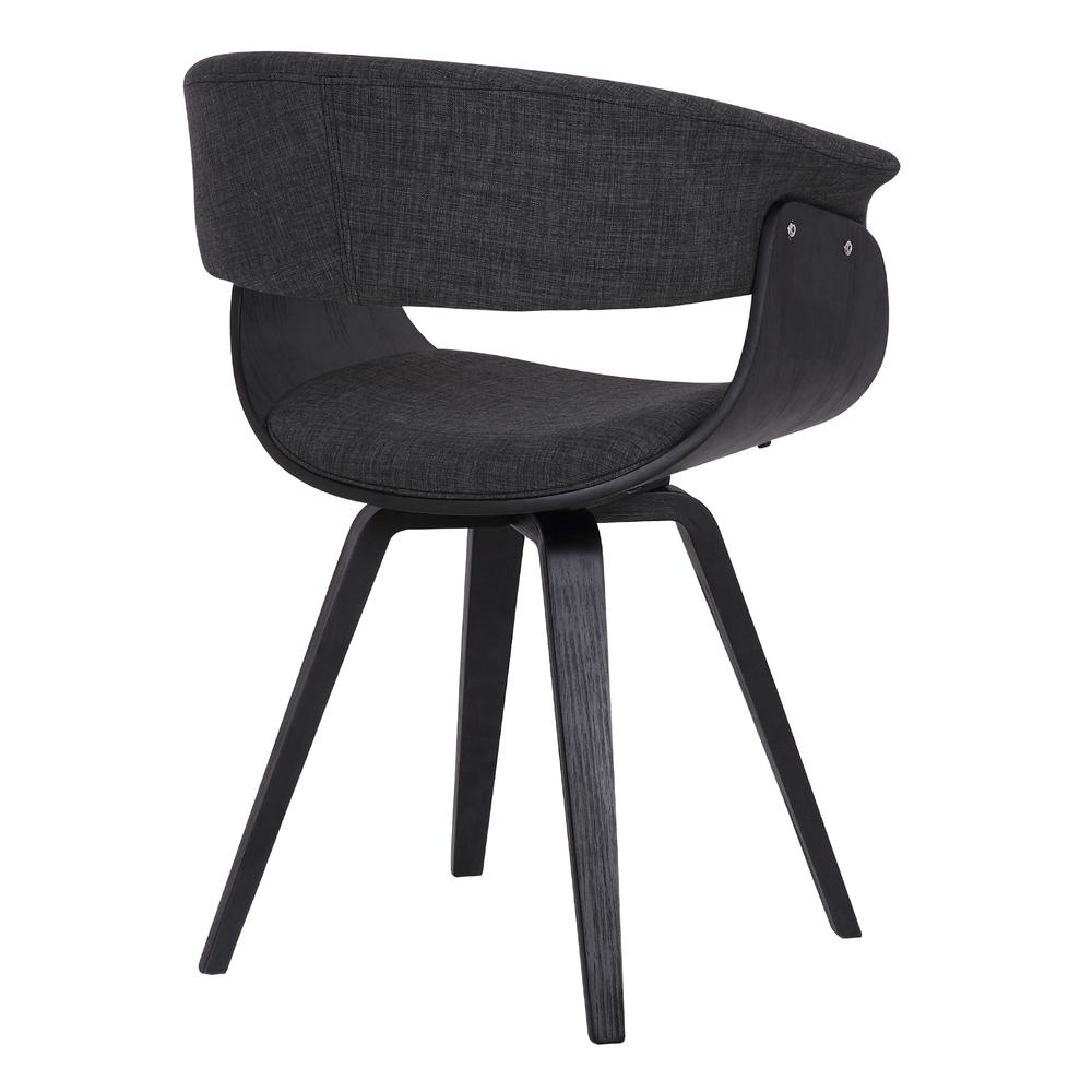 Contemporary Dining Chair in Black Brush Wood Finish and Charcoal Fabric. Picture 4