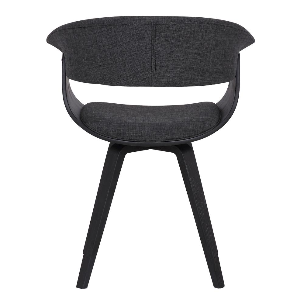 Contemporary Dining Chair in Black Brush Wood Finish and Charcoal Fabric. Picture 5